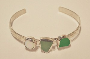 Etched silver bracelet with green and white seaglass and freshwater count pearl by Morgan McGeehan Sayer