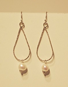 Hammered gold and freshwater white pearl earrings by Morgan McGeehan Sayer
