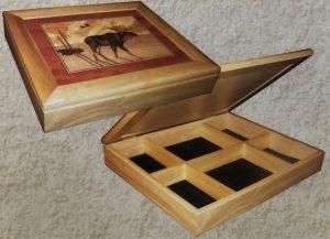 """10""""x12""""x2.25"""" Black velvet bottom  removable wood divider"""