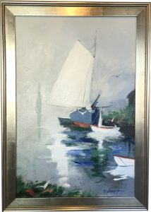 Artist Charles Gruppe At Dock Acrylic Painting