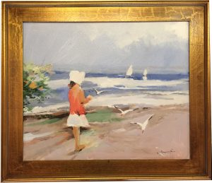 Artist Charles Gruppe At the Beach Acrylic Painting