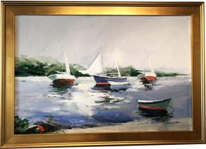 Artist Charles Gruppe Sailboats at the Beach Acrylic Painting