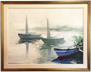 Artist Charles Gruppe Sails Drying Acrylic Painting