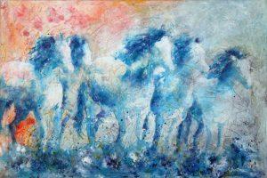 Artist Carol Santora Racing Daylight Acrylic Painting