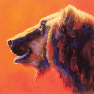 Artist Carol Santora Smiling Grizzly Pastel Painting