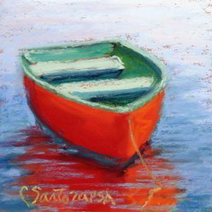 Artist Carol Santora Red And Green Pastel Painting