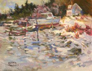 artist-dennis-poirier-burnt-cove-in-winter-unf-8x10