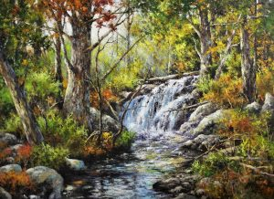 artist-gary-shepard-36x48-woodland-falls-oil-painting