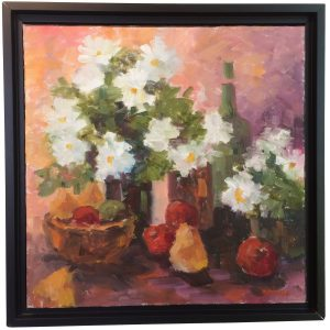Artist Nadine Schoepfle Daisies  12x12 oil on canvas