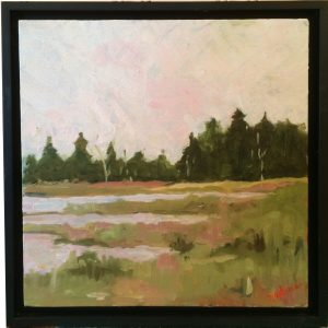 Artist Nadine Schoepfle Late Afternoon along the water  12x12 oil on canvas