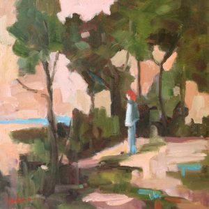 Artist Nadine Schoepfle Looking Out  12x12 oil on canvas