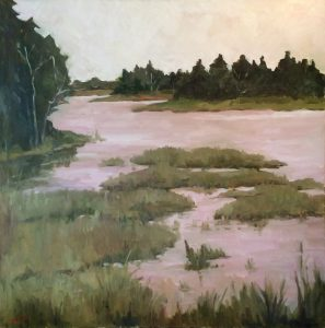 Artist Nadine Schoepfle River View oil on canvas 12x12