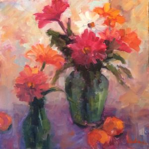 Artist Nadine Schoepfle floral arrangements  12x12 oil on canvas
