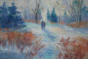 Artist Nancy StLawrence First Snow Pastel Painting