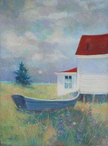 Artist Nancy StLawrence Monhegan Sunset Pastel Painting