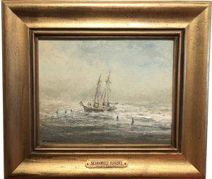 Artist Richard Hasenfus Schooner Ashore Oil Painting