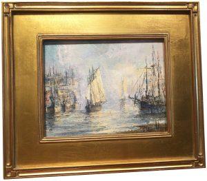 Artist Richard Hasenfus Schooner Coming IN Oil Painting