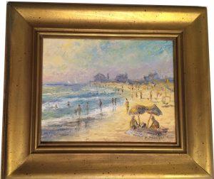 Artist Richrad Hasenfus Beach Day, Mother's Beach Kennebunk- Oil on Canvas
