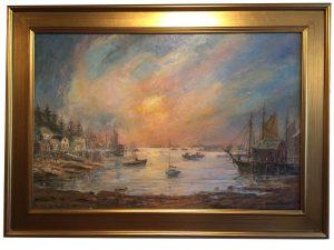Artist Richrad Hasenfus Morning Light, harbor scene- Oil on Canvas