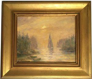 Artist Richrad Hasenfus Sunset Passage, sail boat- Oil on Canvas