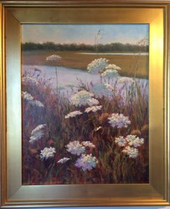 Artist Susan Roux Dancing Lace Queen Ann's Lace Marsh scene- Oil on Canvas