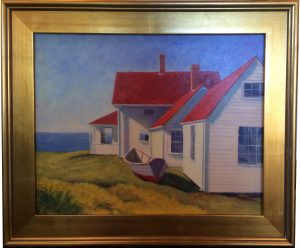 Artist Susan Roux Red Roofs Monhegan  Oil on Canvas