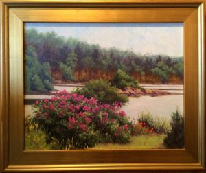 Artist Susan Roux Roses in Full Bloom along the Maine Coast Oil on Canvas