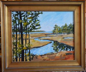 Artist Holly Lombardo Brown Inlet Acrylic Painting
