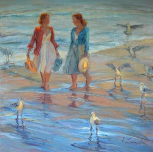 artist Diane Leonard A Walk with the Sea Gulls Oil Painting