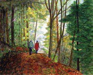 Artist-Helene Rush-Walk in the Woods-Alcohol Inks
