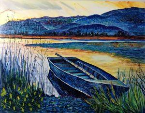 Artist Helene Rush row boat