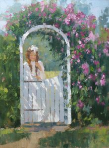 Artist James Nelson Lewis Girl at Gate