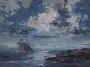 moonlight schooner 9x12