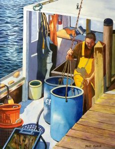 Artist Mike Maron - Unloading the Bait Barrels