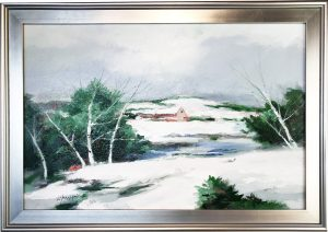 Artist Charles Gruppe Winter Acrylic Painting