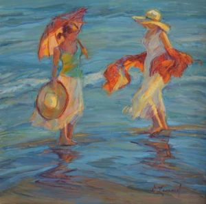 artist-diane-leonard-summer-friends-no5300-oil-beach-scene