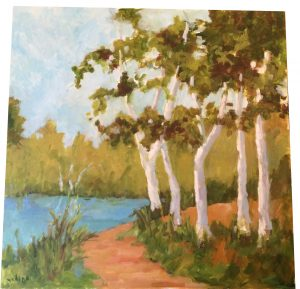 Artist Nadine Schoepfle Birches along the Water 24x24 oil on canvas