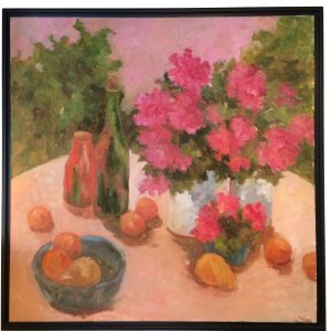 Artist Nadine Schoepfle Summer Setting 30x30 oil on canvas