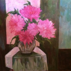 Artist Nadine Schoepfle Table Setting in Pinks 30x30 oil on canvas