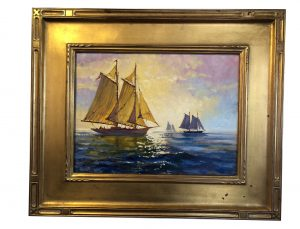 Artist William Maloney -Sunset Sail oil